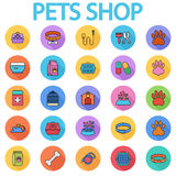 Pets shop icons. Set. Flat vector related icon set with long shadow for web and mobile applications. It can be used as - logo, pictogram, icon, infographic Royalty Free Stock Image