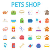 Pets shop. Icons set. Flat vector related icon set for web and mobile applications. It can be used as - logo, pictogram, icon, infographic element. Vector Royalty Free Stock Photography