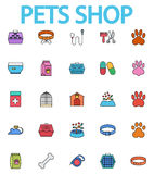 Pets shop icons. Set. Flat vector related icon set whit long shadow for web and mobile applications. It can be used as - logo, pictogram, icon, infographic Royalty Free Stock Images