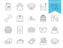 Pets shop icons. Thin line flat vector related icon set for web and mobile applications. It can be used as - logo, pictogram, icon, infographic element. Vector Royalty Free Stock Photography