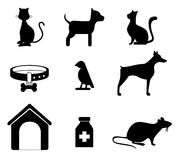 Pets silhouettes Royalty Free Stock Images
