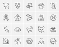 Pets sketch icon set. Pets sketch icon set for web, mobile and infographics. Hand drawn pets icon set. Pets vector icon set. Pets icon set  on white background Stock Image