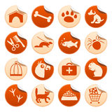 Pets stickers. Pets symbols on round stickers Stock Image