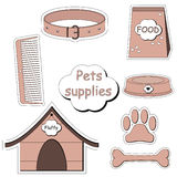 Pets supplies stickers vector Royalty Free Stock Images