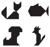 Pets symbols black and white. Cat Dog Fish Parrot symbols black and white simple shape Royalty Free Stock Image