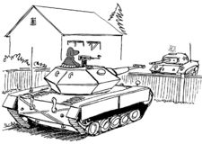 Pets in tanks face off. Cat and dog fight with tanks stock illustration
