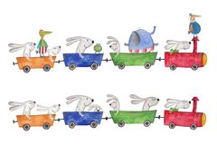 Pets traveling by Train. Artistic work. Watercolors on paper Stock Photo