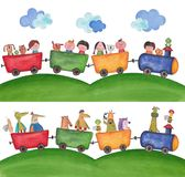 Pets traveling by train. Artistic work. Watercolors on paper Royalty Free Stock Photography