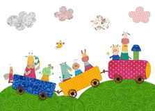 Pets traveling by train. Colorful graphic illustration for children Royalty Free Stock Images