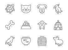 Pets vector icon set in line art style. Mouse and aquarium, food for pet, kennel and bone, parrot fish and bird outline illustration Royalty Free Stock Image