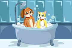 Pets washing themselves in the bathtub vector illustration