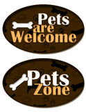 Pets are Welcome Zone. A circle element with pets pattern and goods for animals and pets vector illustration