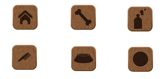 Pets wooden icons set Stock Image