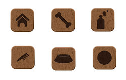 Pets wooden icons set Stock Photos