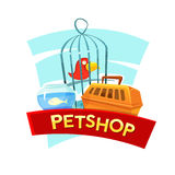 Petshop concept design, vector illustration. Petshop concept design with aquarium fish, cage birds and container carrying animals, vector illustration Stock Photography