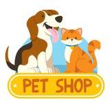 Petshop design med katten och hunden vektor illustrationer