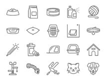Petshop line icon set. Included icons as pet shop, pets, cat, dog, vitamin, toy and more. Vector and illustration: Petshop line icon set. Included icons as pet stock illustration