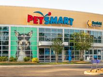 PetSmart and Banfield Animal Hospital storefront in sunny Florida  close up stock photography