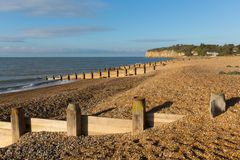 Pett strand nära Fairlight trä, Hastings East Sussex England UK arkivfoto