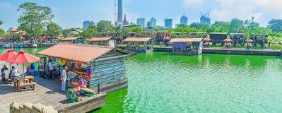 Pettah浮动市场全景在科伦坡 库存照片
