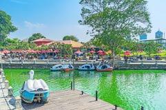 Pettah浮动市场的堤防在科伦坡 库存图片