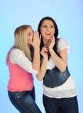 Pettegolare grazioso delle due giovane ragazze Fotografie Stock Libere da Diritti