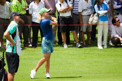 Petterson looks on after her swing LPGA Malaysia Stock Image