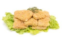 Petti di pollo impanati Fotografia Stock Libera da Diritti