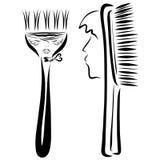 Pettine con un fronte del ` s dell'uomo e una spazzola per capelli con un fronte del ` s della donna illustrazione di stock