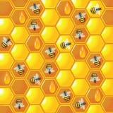 Pettine del miele del fondo con le api Fotografia Stock