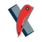 Pettine del parrucchiere con il rasoio illustrazione di stock