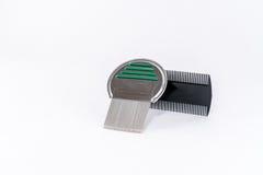 Pettine del pidocchio per il trattamento, il metallo e la plastica dei pidocchi Fotografia Stock