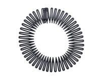 Pettine flessibile di allungamento di sport dei capelli del cerchio completo di plastica nero della banda, clip della fascia dei  Fotografia Stock