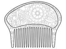 Pettine per i capelli libro da colorare per l'adulto, pagine antistress di coloritura  illustrazione di stock