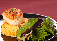 Pettine Seared su riso con un'insalata croccante Fotografie Stock