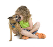 Petting the dog stock image