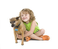 Petting the dog royalty free stock photos