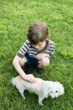 petting poodle παιδιών Στοκ Φωτογραφίες
