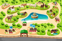 Petting Zoo Map. A vector illustration of petting zoo map royalty free illustration