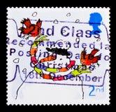 Pettiross con il pupazzo di neve, Natale 2001 - serie dei pettiross, circa 2001 Immagini Stock