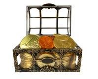 Petto con le monete del cioccolato Fotografia Stock