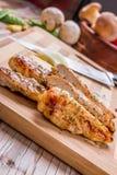 petto di pollo arrostito della carne bianca, strisce del pollo Immagini Stock Libere da Diritti