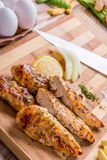 petto di pollo arrostito della carne bianca, strisce del pollo Immagine Stock
