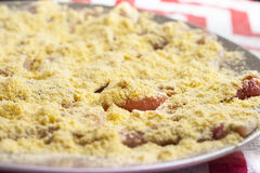 Petto di pollo crudo affettato in strisce in polvere con farina di mais Immagini Stock Libere da Diritti
