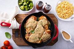 Petto di pollo cucinato in una padella immagine stock