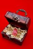 Petto di Teasure con chiavi dorate Fotografie Stock Libere da Diritti