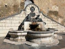 Pettorano sul Gizio - Monumental fountain of Neptune and Amphitrite. Pettorano sul Gizio, Abruzzo, Italy - March 15, 2019: Monumental fountain of Neptune and stock photo