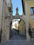 Pettorano sul Gizio - Porta San Marco. Pettorano sul Gizio, Abruzzo, Italy - March 15, 2019: Porta San Marco, one of the access gates to the village, surmounted stock photos