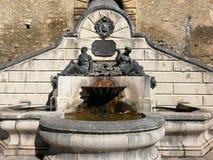 Pettorano sul Gizio - Fountain of Neptune and Amphitrite. Pettorano sul Gizio, Abruzzo, Italy - March 15, 2019: Monumental fountain of Neptune and Amphitrite stock image