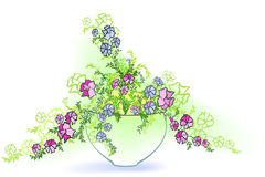 Petunia i en kruka Arkivfoton